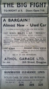 newspaper cutting -car for sale 1938